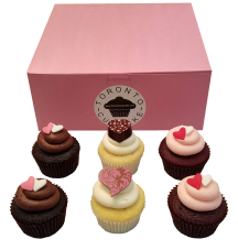 A half dozen Valentine's Day cupcakes from Toronto Cupcakes